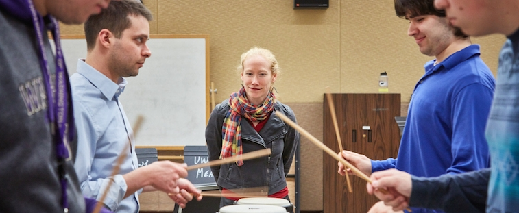 Bonnie Whiting, UW head of Percussion Studies, with students