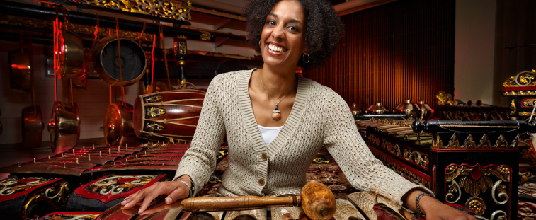 Christina Sunardi with the UW's new gamelan.
