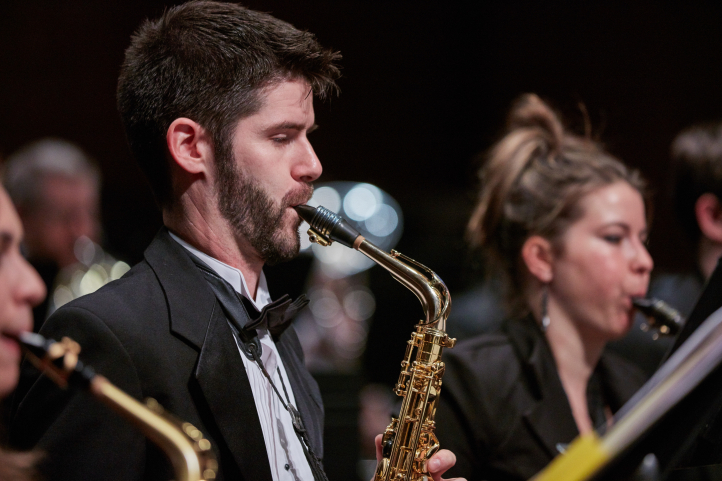 The Wind Ensemble, Symphonic, and Alumni Bands perform May 25 at Meany Theater (photo: Steve Korn).