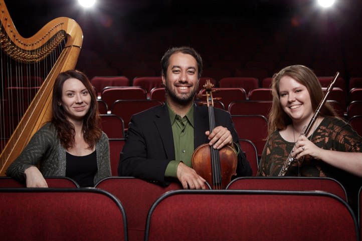 The Evergreen Trio, includes Natalie Ham, flute; Vijay Chalasani, viola, and Lauren Wessels, harp