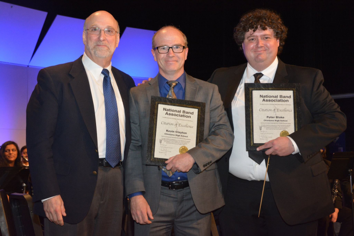 Music Ed alumnus Kevin Clayton (center) was recently named Washington State Teacher of the Year by the Washington Music Educators Association (Photo: Pasco School District).