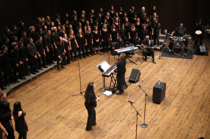 Phyllis Byrdwell directs the UW Gospel Choir.