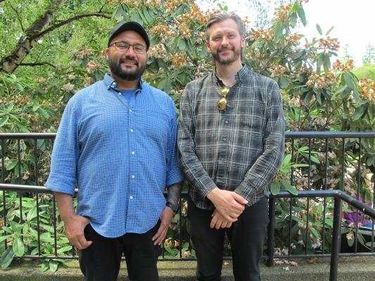 Music Ed graduate students Chris Mena and Skúli Gestsson (Photo: Joanne DePue)