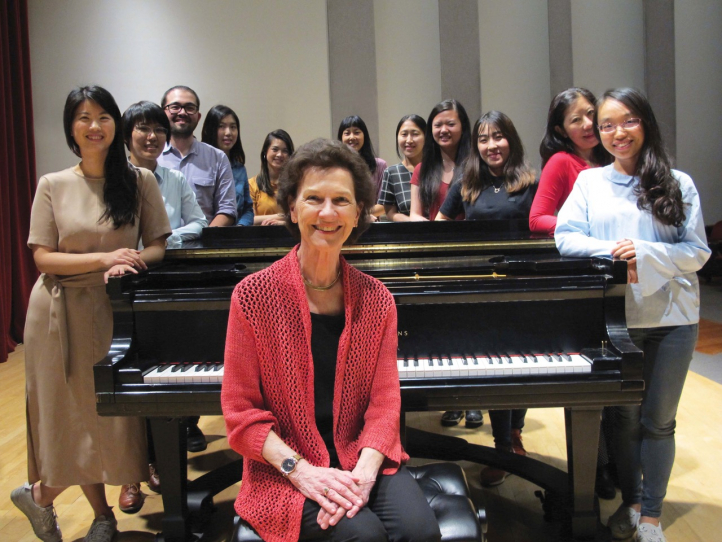 Robin McCabe with students from her UW Piano Studio (Photo: Joanne DePue).