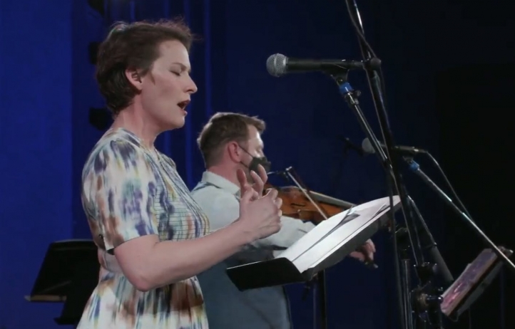 Outpost co-founders Carrie Henneman Shaw and Sam Bergman performed at the start of Monday's livestream from the Parkway Theater (Photo: courtesy Star Tribune).
