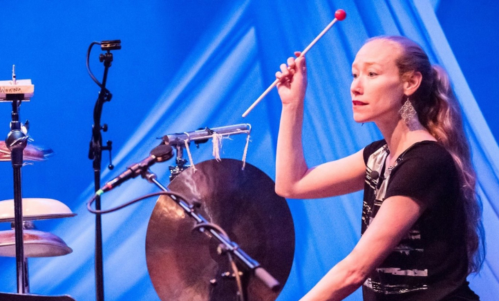 Percussion Studies Chair Bonnie Whiting at the Asheville, N.C., Percussion Festival, 2018 (Photo: Jesse Kit).