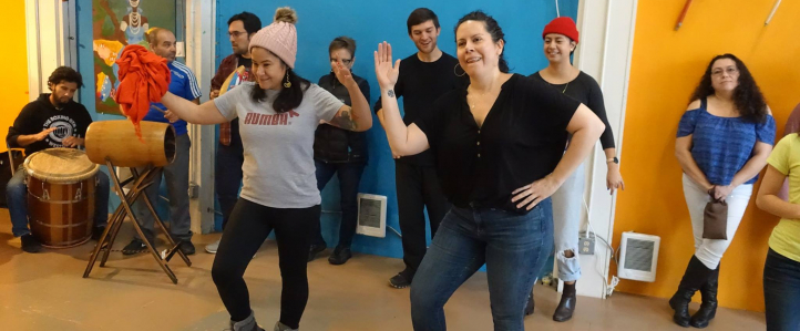 Amarilys Rios leads a community Bomba workshop at Seattle Union Cultural Center (Photo: Shannon Dudley).