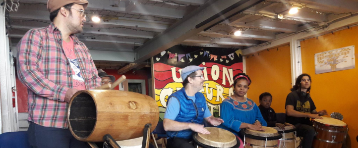Drummers at a bomba workshop