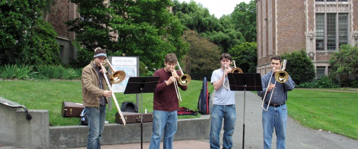 Trombone students practicing outside the Music Building.
