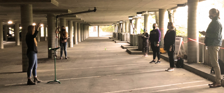 Choral octets rehearse in the Padelford parking garage (Photo: courtesy Geoffrey Boers).