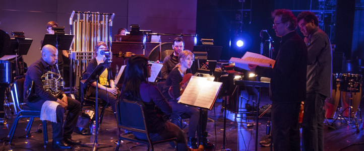 Composition professor Joel Durand confers with members of New York's Talea Ensemble