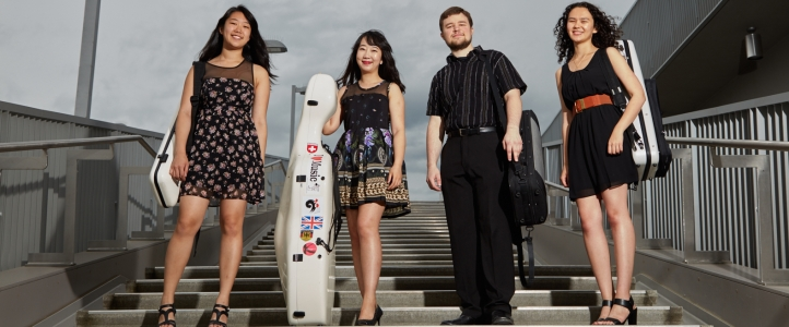 The Corda Quartet, coached by Melia Watras: Judith Kim and Heather Borror, violins; Emmeran Pokorny, viola; and Yang Lu, cello (Steve Korn photo).
