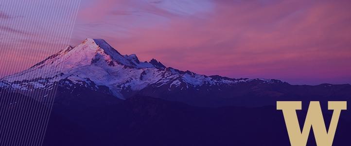 Mount Rainier and UW logo
