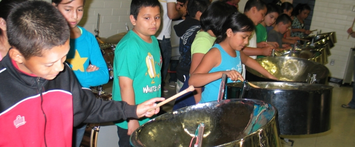 children playing steel pan
