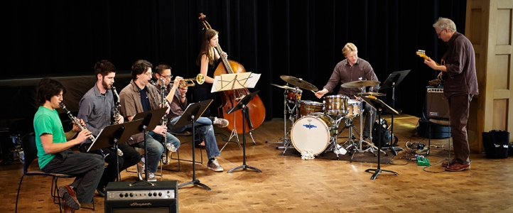 Bill Frisell and Ted Poor with jazz band
