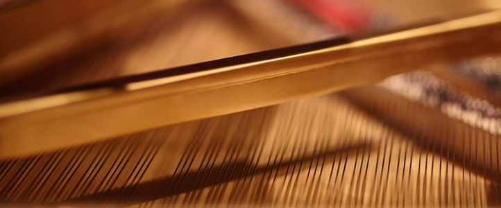 Closeup of piano strings