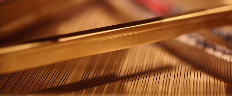 Closeup of piano strings