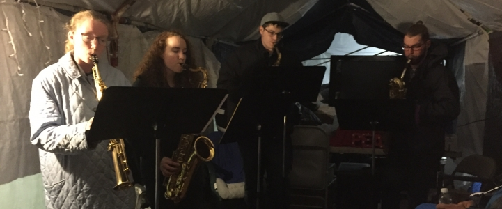 Saxophone quartet at Tent City 3 - UW Music