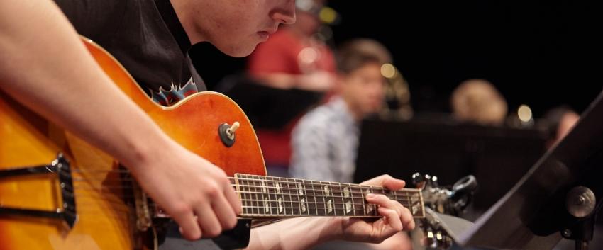 UW Studio Jazz Ensemble: Big Band, guitar player (photo: Steve Korn)