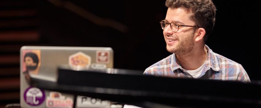 UW Studio Jazz Ensemble: Modern Band, piano student (photo: Steve Korn)