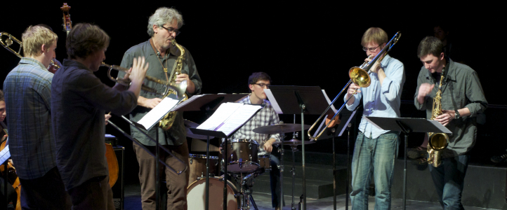 Guest artist Tim Berne with UW jazz studies students at IMPFest (2011). (Photo: courtesy IMP).