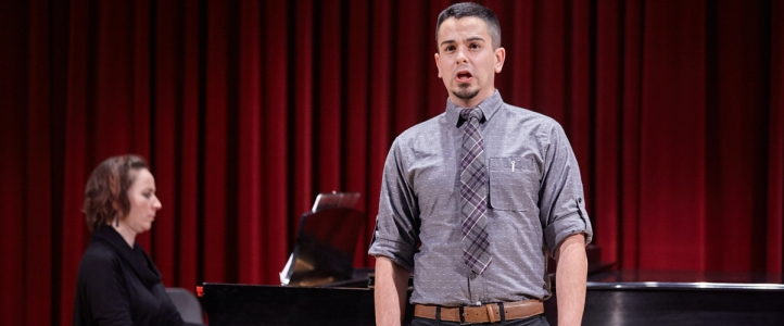 Student performs at the Voice Division recital (photo: Steve Korn)