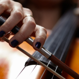 Cello player close-up