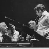 "Maestro Erös conducts Arthur Rubenstein. The inscription reads: ""To Maestro Erös, with thanks and admiration.--Arthur Rubenstein, San Diego, 10.31.75"""