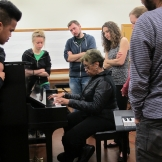 Ethnomusicology Visiting Artist Phyllis Byrdwell works with students in her Gospel Piano class.