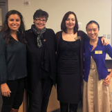 Tori Hernandez, UW President Ana Mari Cauce, Giuliana Conti and Elloise Soh-Yeun Kim at GPSS Senate meeting, January 2018 (photo via: UW GPSS)