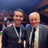Professor Craig Sheppard with the winner of the Arthur Rubinstein piano competition in Israel.