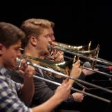 UW Studio Jazz Ensemble: Big Band, trombone players (photo: Steve Korn)