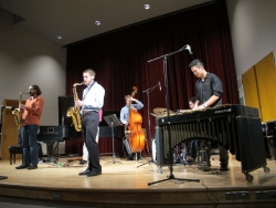 Students in the Jazz Workshop perform in Brechemin Auditorium.