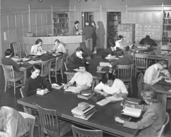 Students at work in the UW Music Library (1950s).