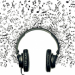 illustration of headphones surrounded by musical notes