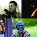 Montage of musicians in genres that have influence rap, including blues, jazz, funk, and African drumming.