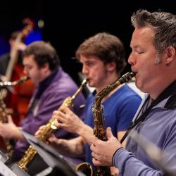 Stuart MacDonald performs with the UW Big Band