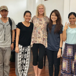 UW Music Prof. Patricia Campbell working with students in Myanmar.
